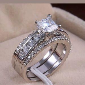 NWT White Sapphire 3 pc Wedding Ring Set Sz 6